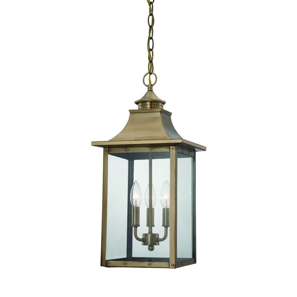 Acclaim Lighting St. Charles Collection Hanging Outdoor 3-Light Aged Brass Light