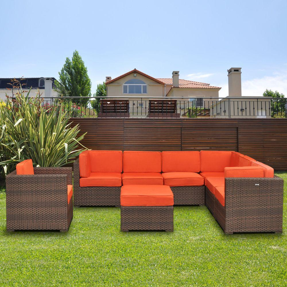 Atlantic Contemporary Lifestyle Marseille 8 Piece Patio Sectional Seating  Set With Orange Cushions