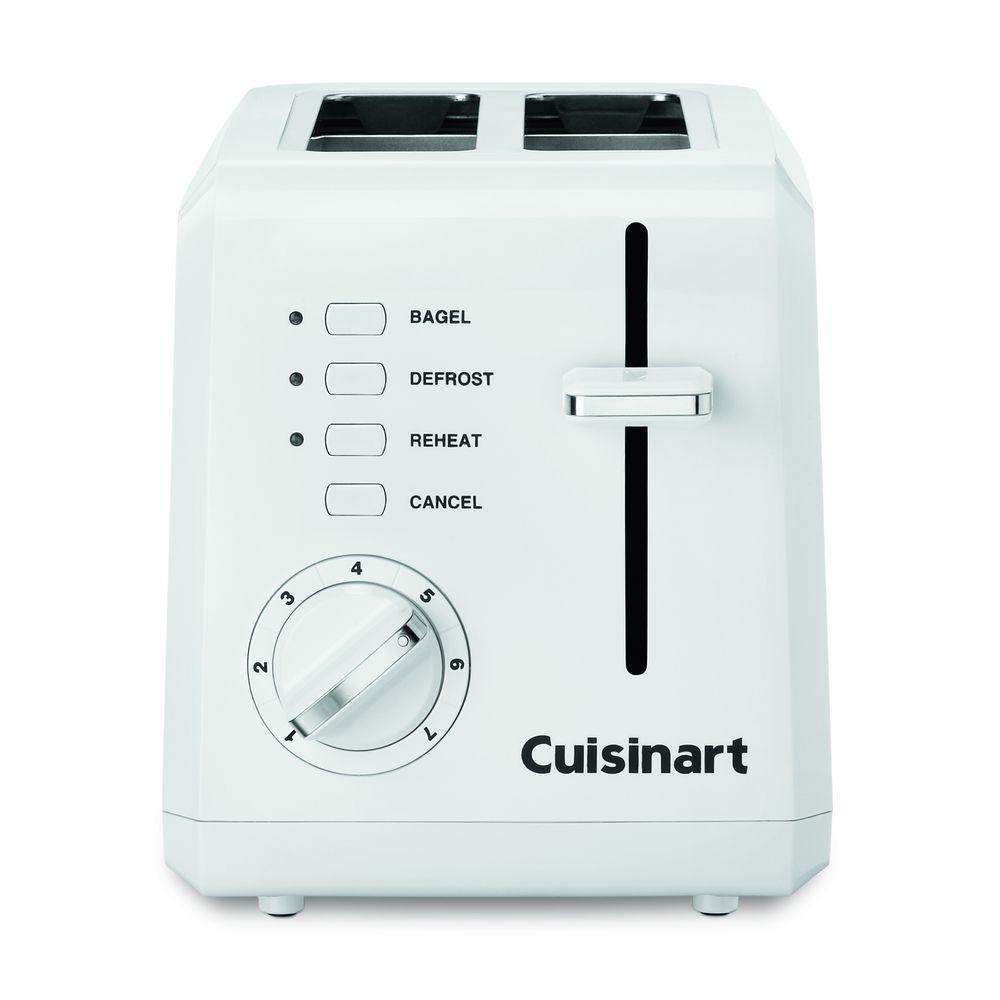 2-Slice Compact Plastic Toaster in White