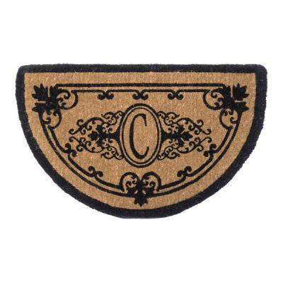 Perfect Home Hamilton Brown 48 in. x 30 in. Half-Circle Monogram C Door Mat-DISCONTINUED