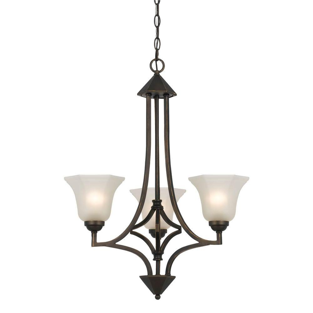 CAL Lighting 3-Light Hand Forged Dark Bronze Iron Westbrook Ceiling Mount Chandelier with Glass Shades