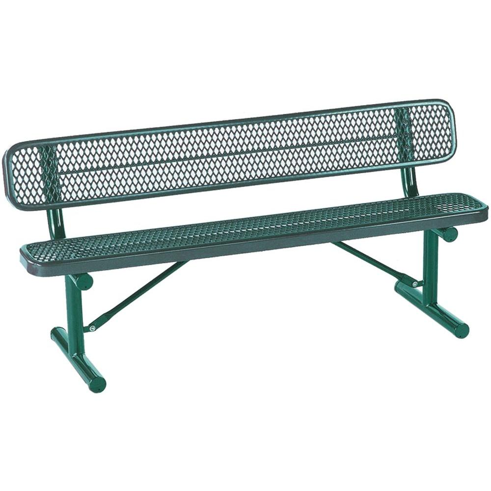 Tradewinds Park 6 ft. Green Commercial Bench-HD-D003GS-GR - The Home Depot