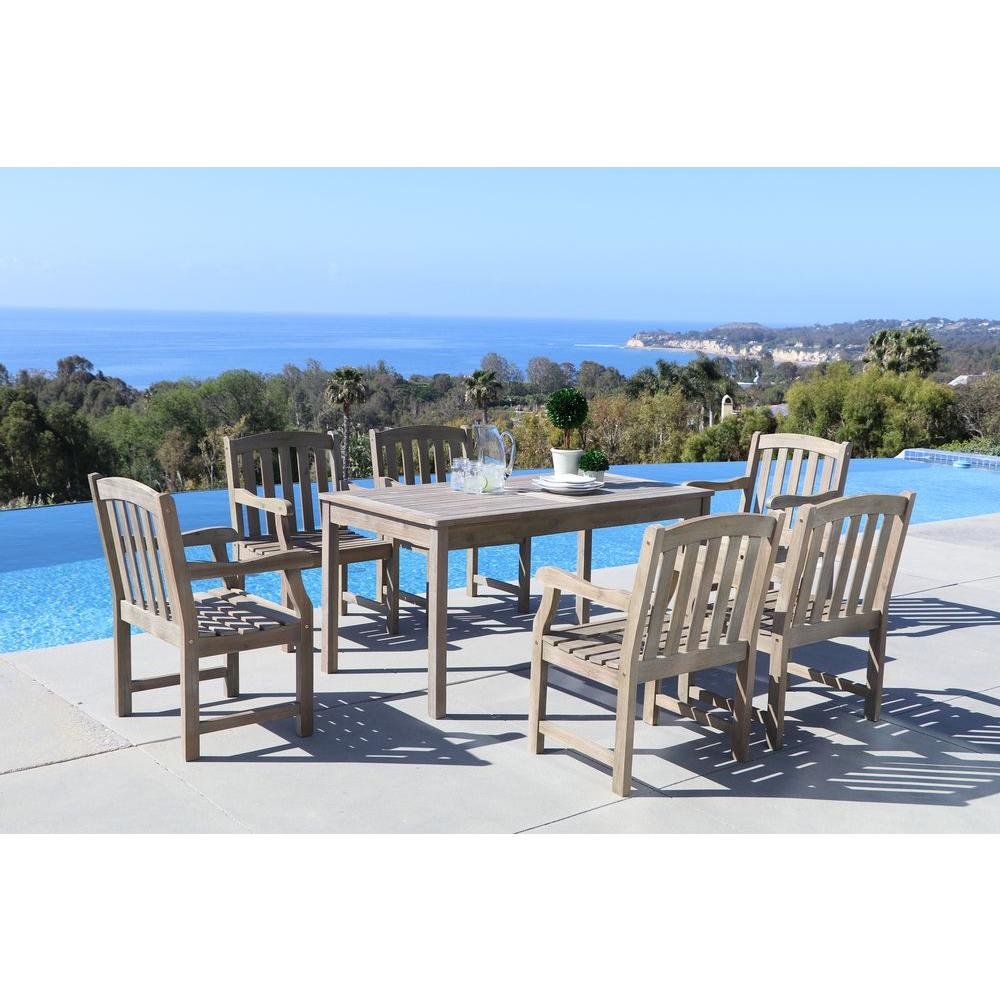 Renaissance Hand-Scraped Acacia 7-Piece Patio Dining Set with 32 in. W