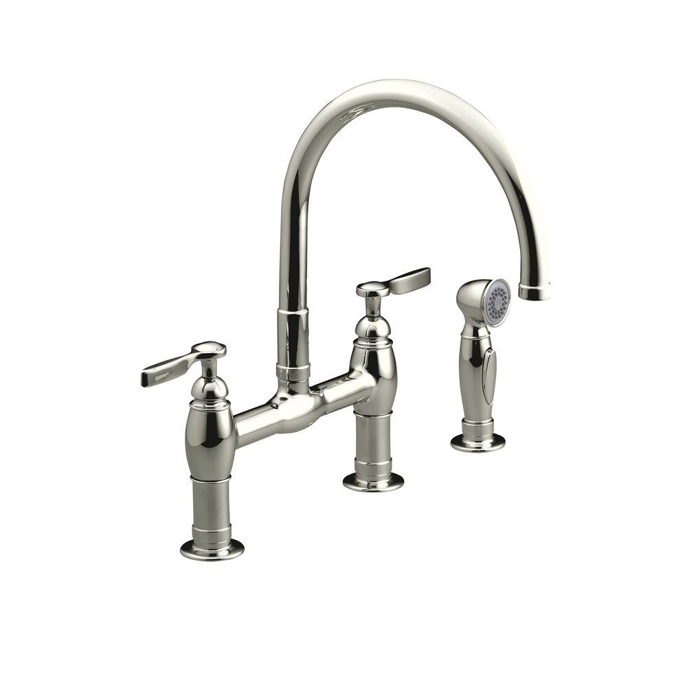 KOHLER Parq 2-Handle Bridge Kitchen Faucet with Side Sprayer in Vibrant Polished Nickel