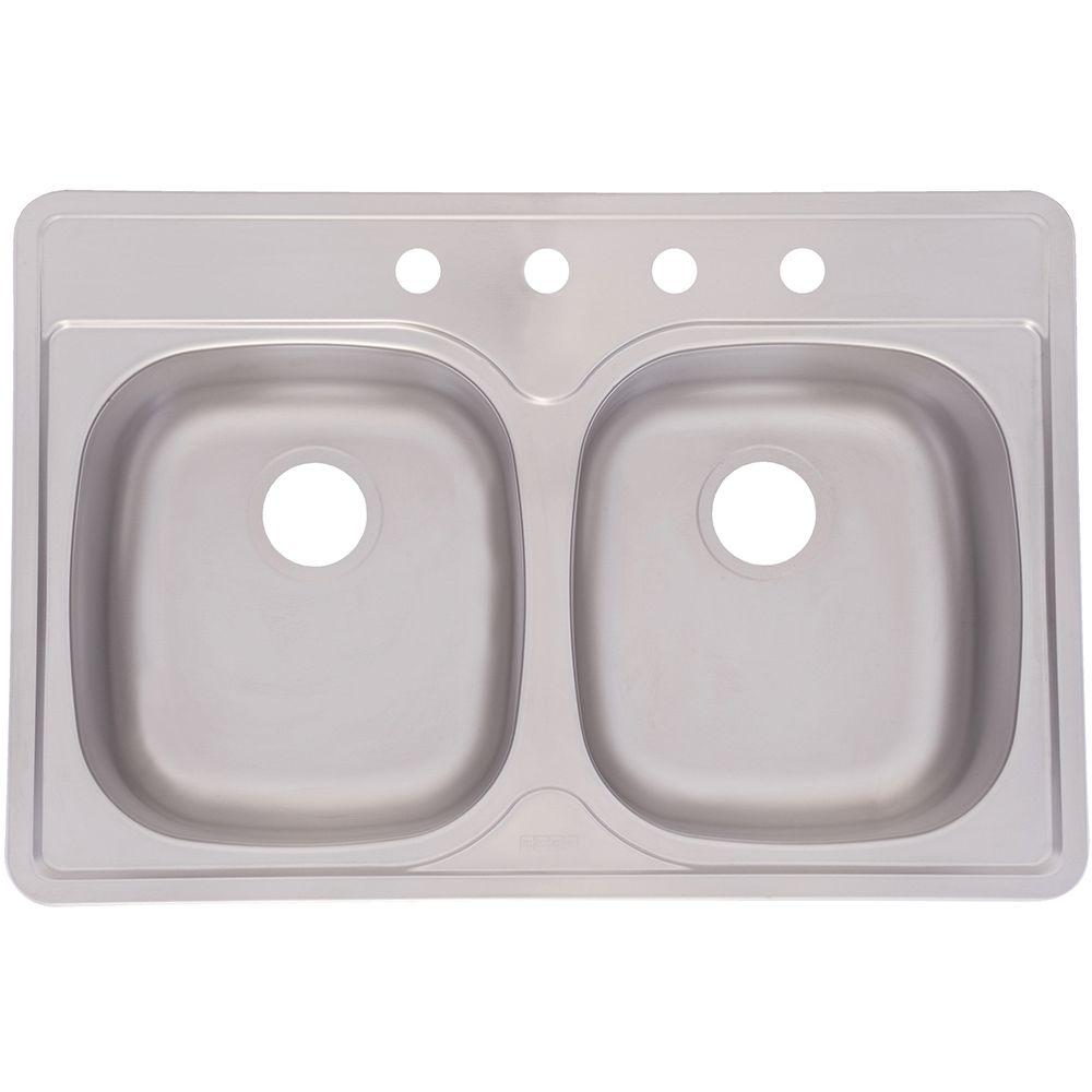 Top Mount Stainless Steel 33x22x8 4-Hole Double Bowl Kitchen Sink, Satin Deck And Bowl