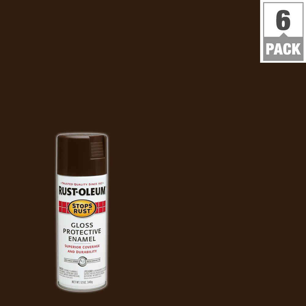 12 oz. Gloss French Roast Protective Enamel Spray Paint (6-Pack)