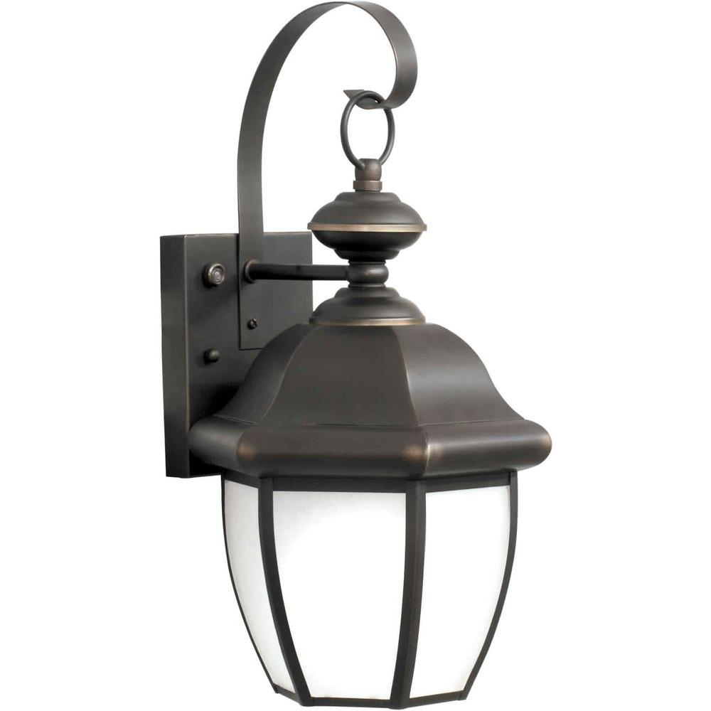 Illumine 1 Light Outdoor Lantern Royal Bronze Finish Frosted Seeded Glass Panels-DISCONTINUED