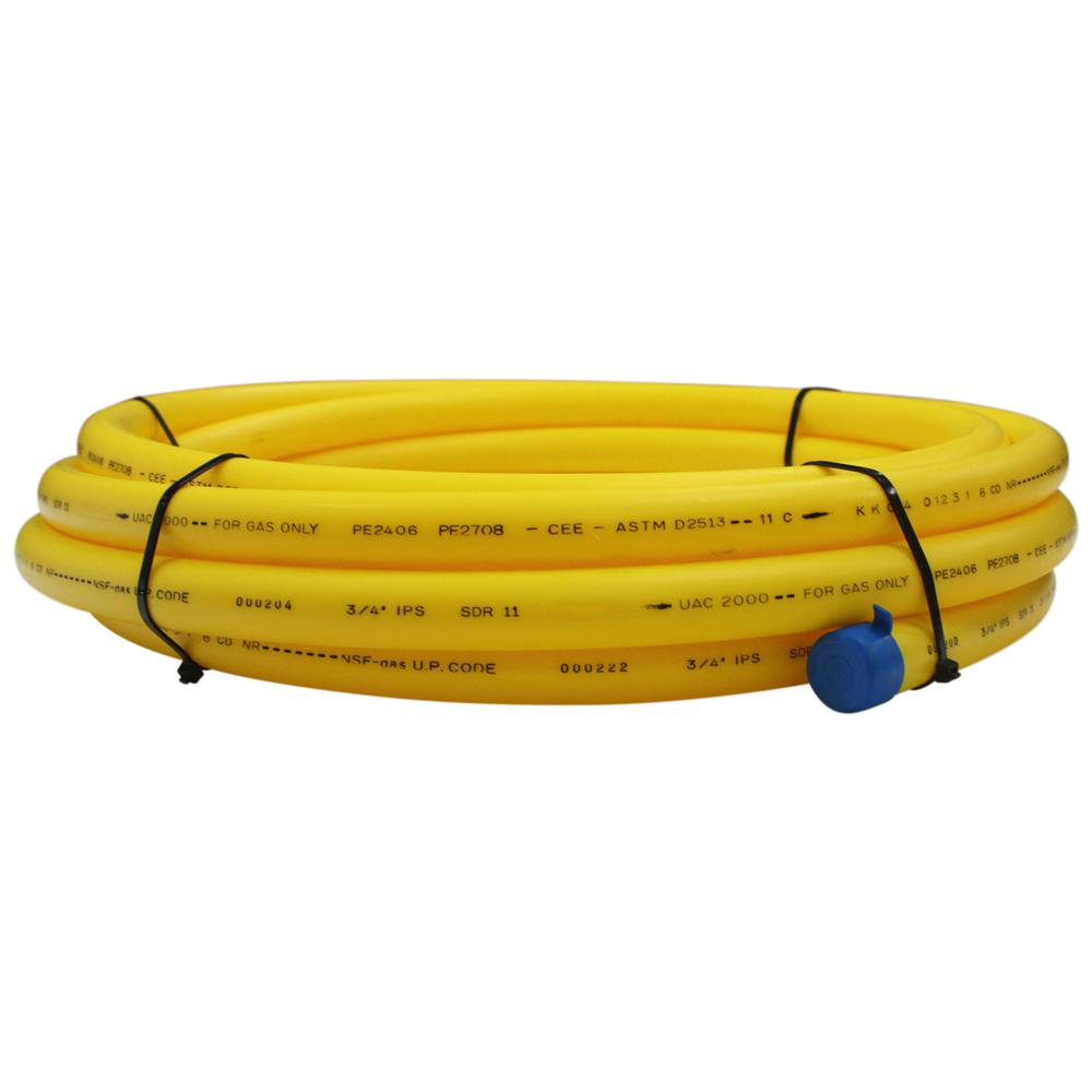 Underground 3/4 in. x 25 ft. IPS Yellow Polyethylene Gas Pipe