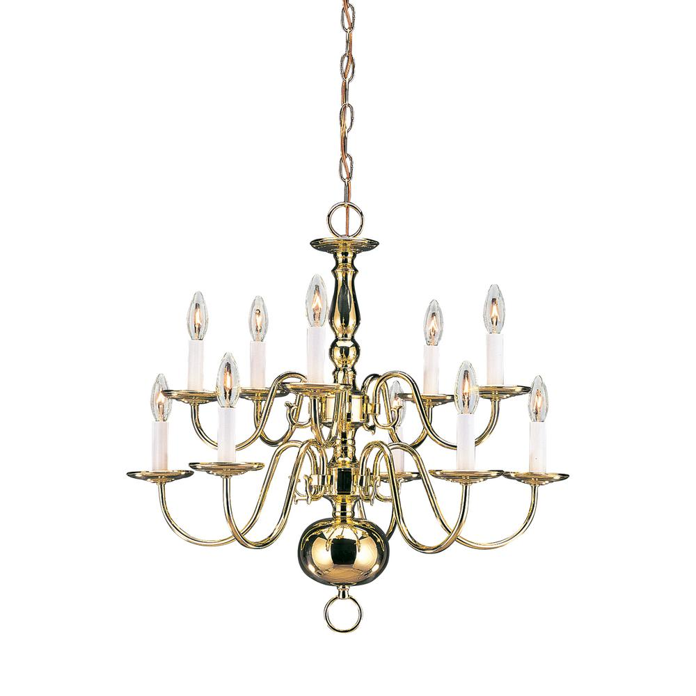 Traditional 10-Light Polished Brass Chandelier