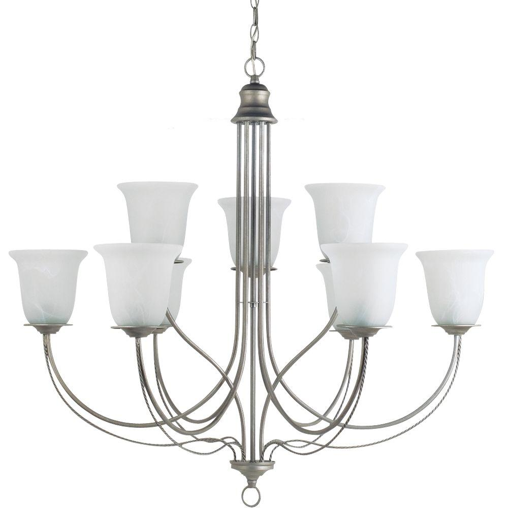 Sea Gull Lighting Plymouth 9-Light Weathered Pewter Chandelier