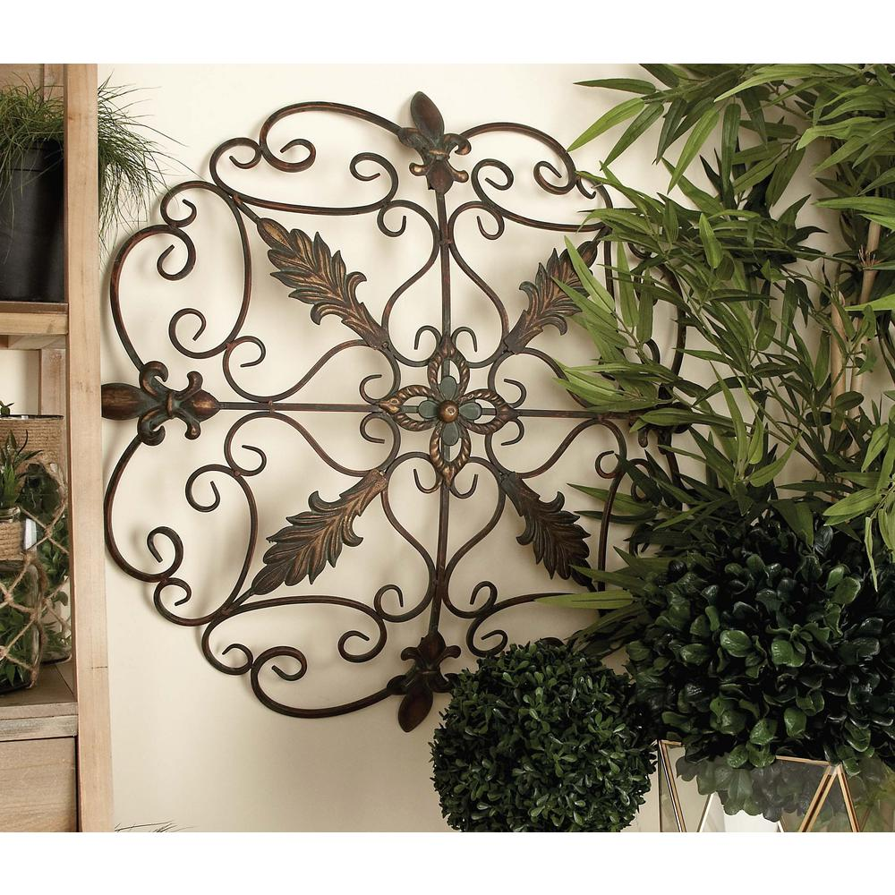American home 30 in french inspired bronze finished fleur for Decorative scrollwork