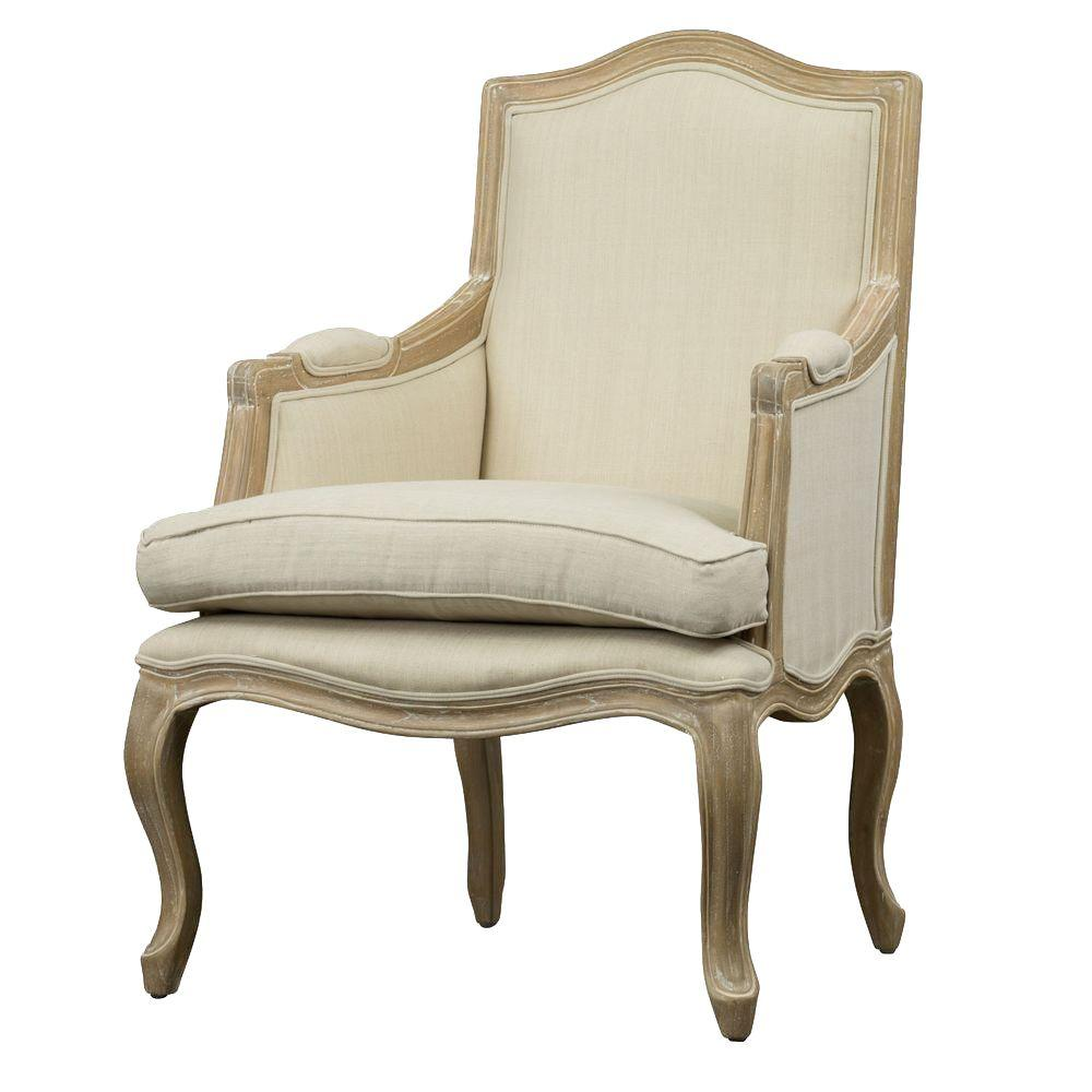 Baxton Studio Alarica French Wood Accent Chair in Beige-28862-6020-HD - The