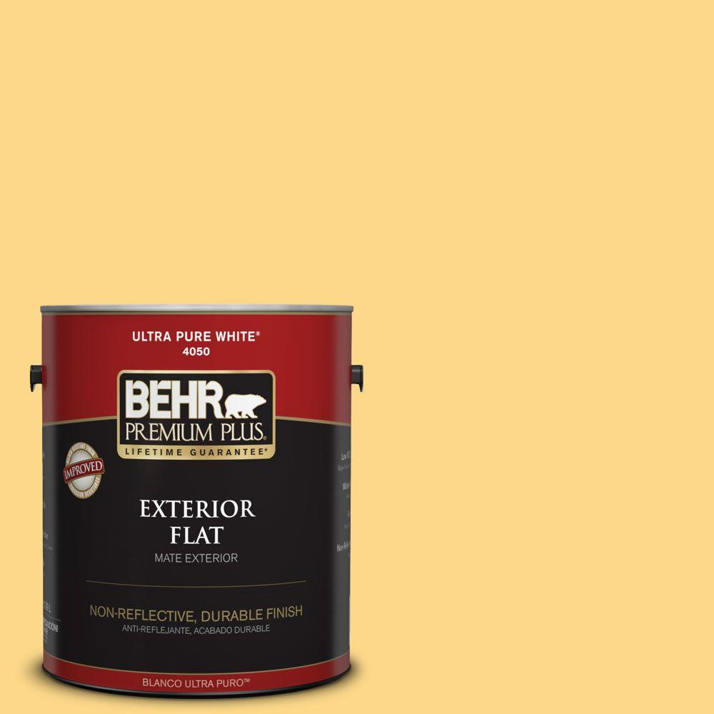 BEHR Premium Plus 1-gal. #P280-4 Surfboard Yellow Flat Exterior Paint