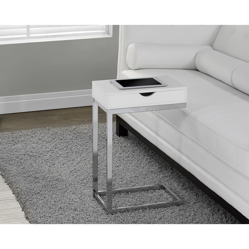Glossy White Storage End Table