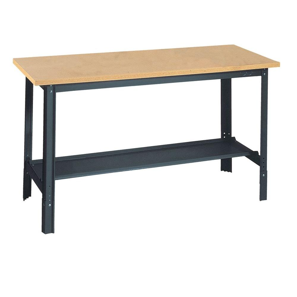 Edsal In H X In W X In D Wooden Top Workbench With Shelf - 5 ft stainless steel table