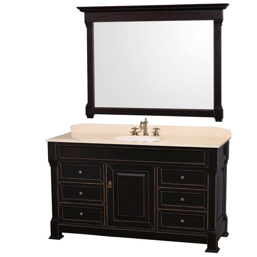 Wyndham Collection Andover 60 in. Single Vanity in Black with Marble