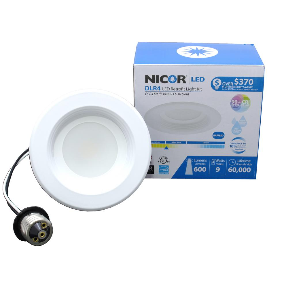 DLR Series 4 in. White 3000K Integrated LED Retrofit Downlight Recessed