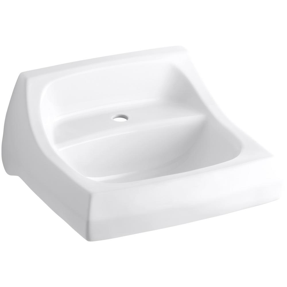 KOHLER Kingston Wall-Mount Vitreous China Bathroom Sink in White with Overflow Drain