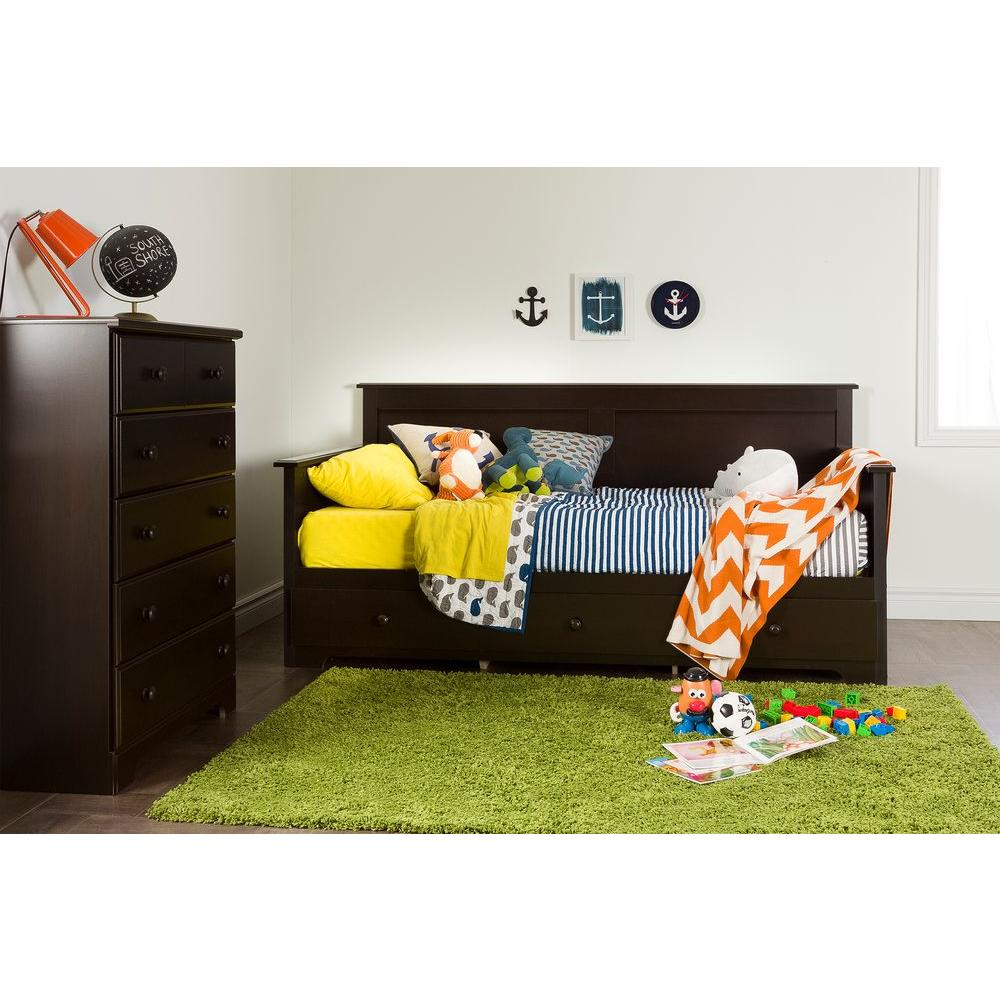 South Shore Summer Breeze 3-Drawer Twin-Size Day Bed in Chocolate-10079 -