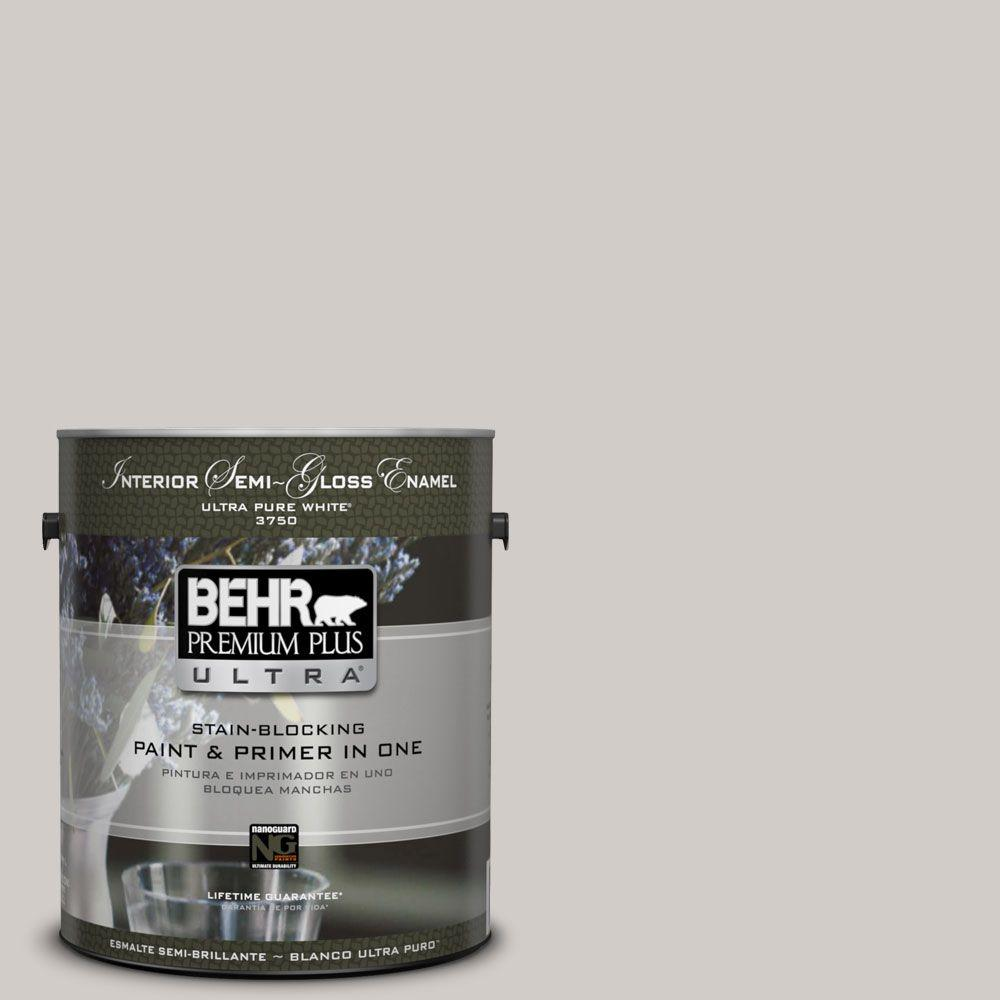 BEHR Premium Plus Ultra Home Decorators Collection 1-gal. #HDC-NT-20 Cotton Grey Semi-Gloss Enamel Interior Paint
