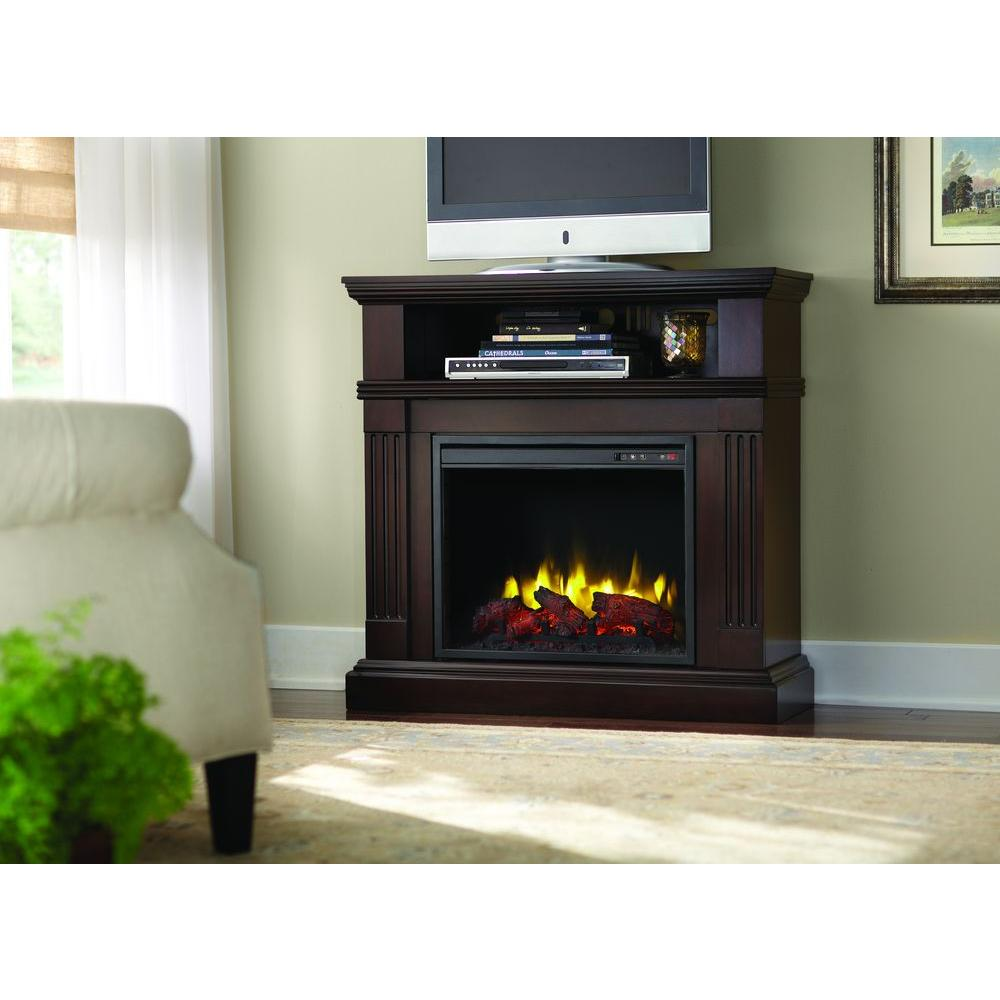 Home Decorators Collection Edison 40 In Convertible Media Console Electric Fireplace In Tobacco