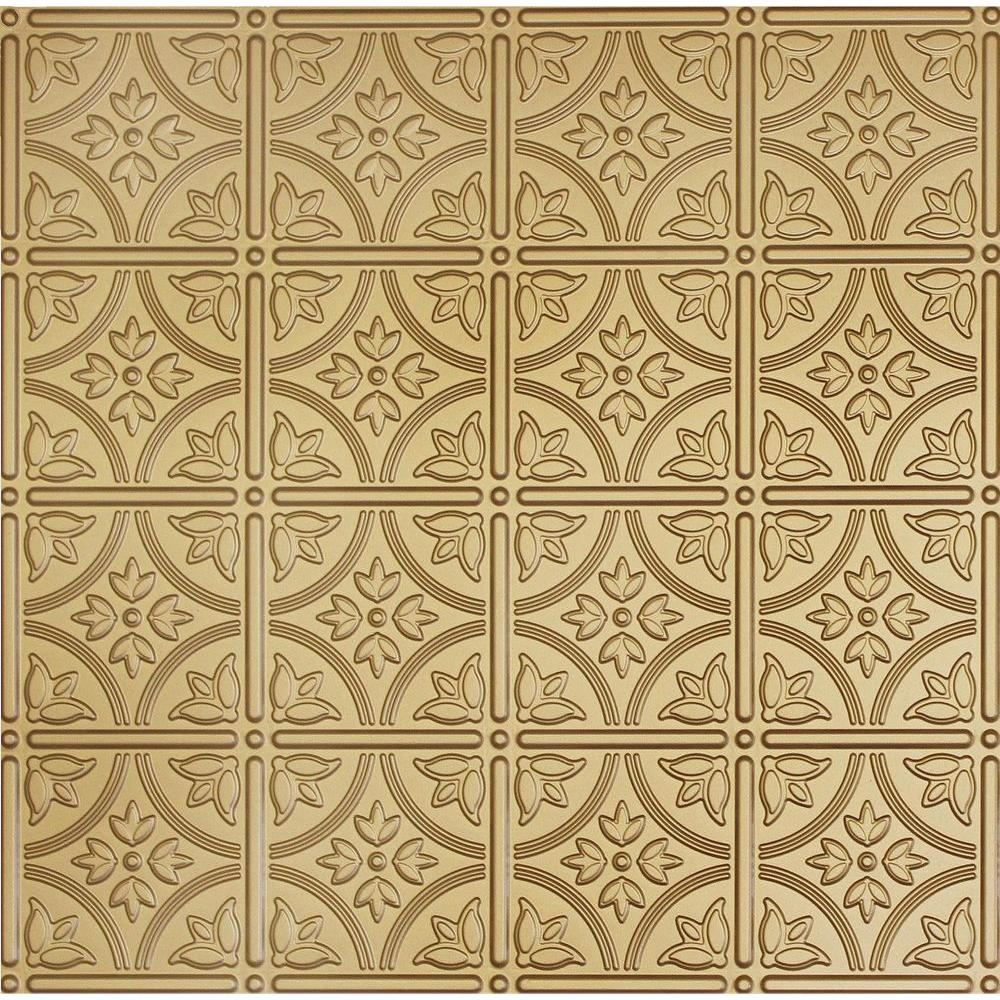 Dimensions 2 ft. x 2 ft. Brass Tin Ceiling Tile for