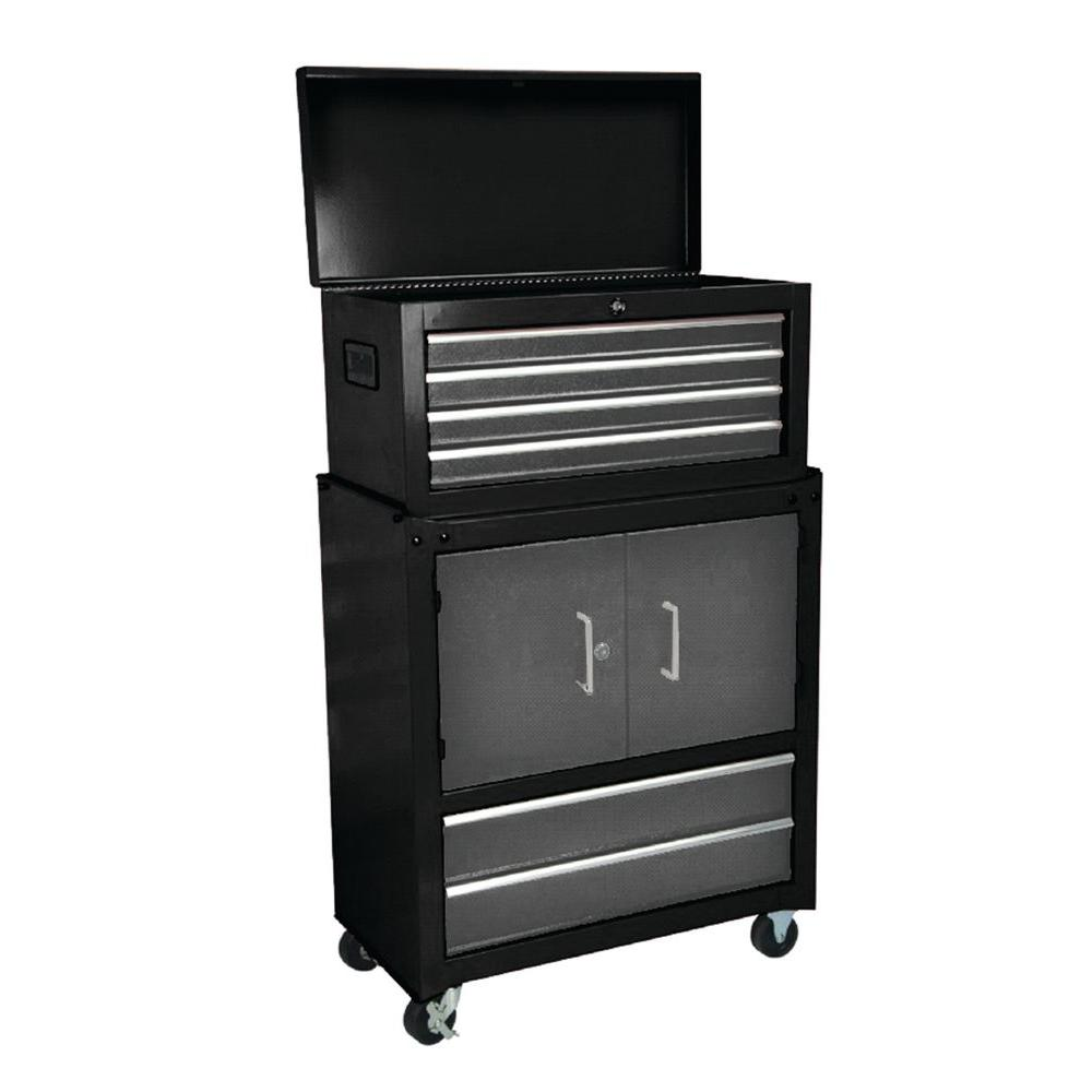 Wiremold: Chest Combos: International Tool StorageFittings & Kits: 26 in. 6-Drawer Ball Bearing Slides and 2 Doors Roller Combo Set in Black C-8062D