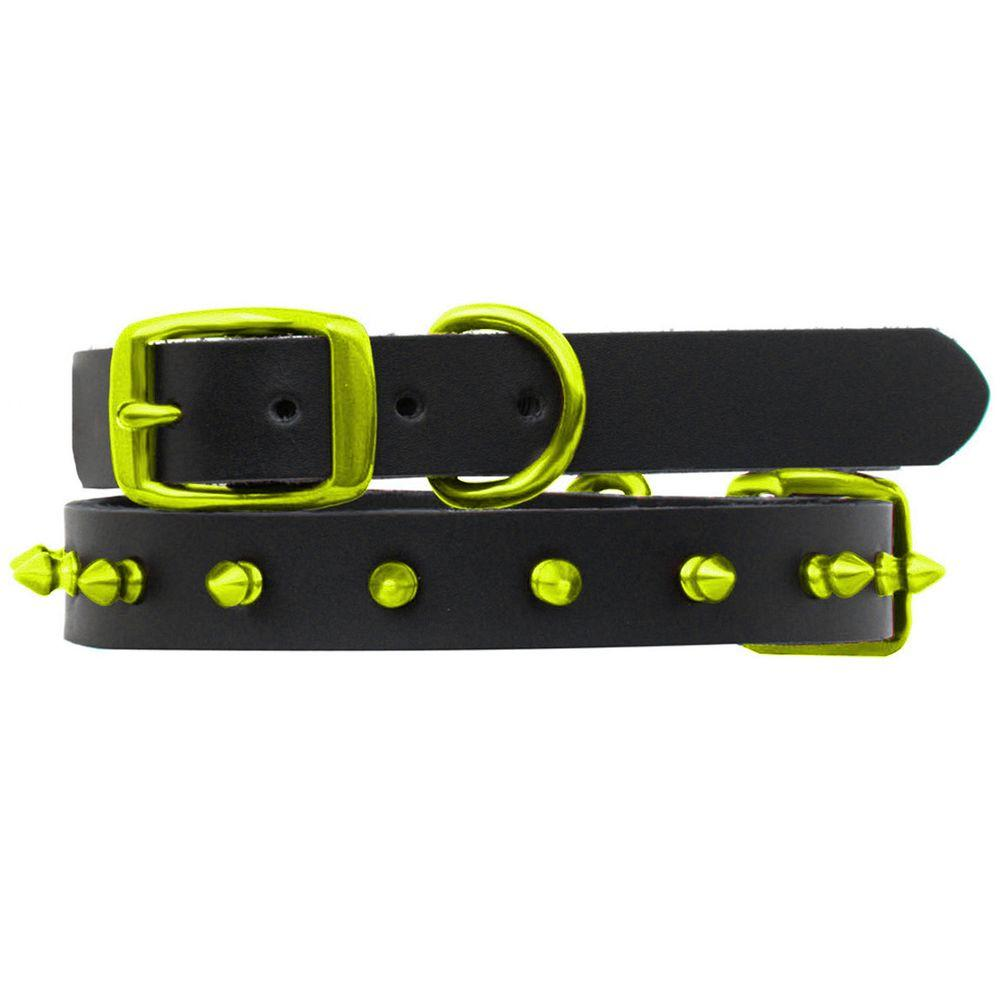 Platinum Pets 24 in. Black Genuine Leather Dog Collar in Lime Spikes