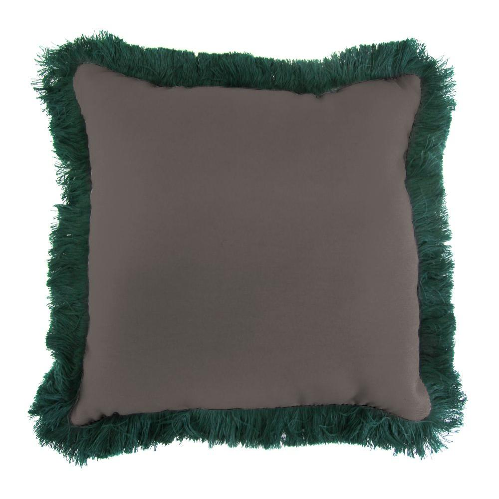 Sunbrella Canvas Coal Square Outdoor Throw Pillow with Forest Green Fringe