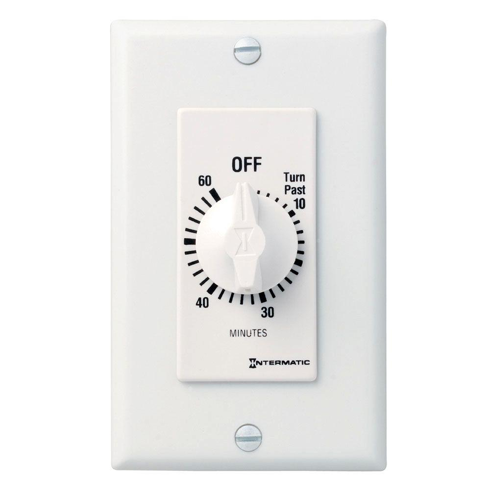 Intermatic 20 Amp 60-Minute Spring Wound In-Wall Timer, White