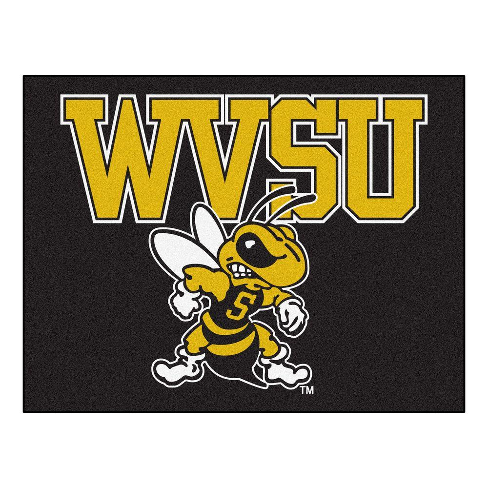 Contemporary Indoor/Outdoor Accent Rug: FANMATS Rugs Ncaa West Virginia State University Black 2 ft. 10 in. x 3 ft. 9 in. 4061
