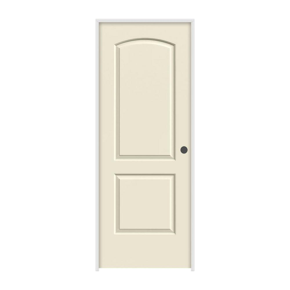 30 in. x 80 in. Smooth 2-Panel Arch Top Primed Molded Single Prehung Interior Door