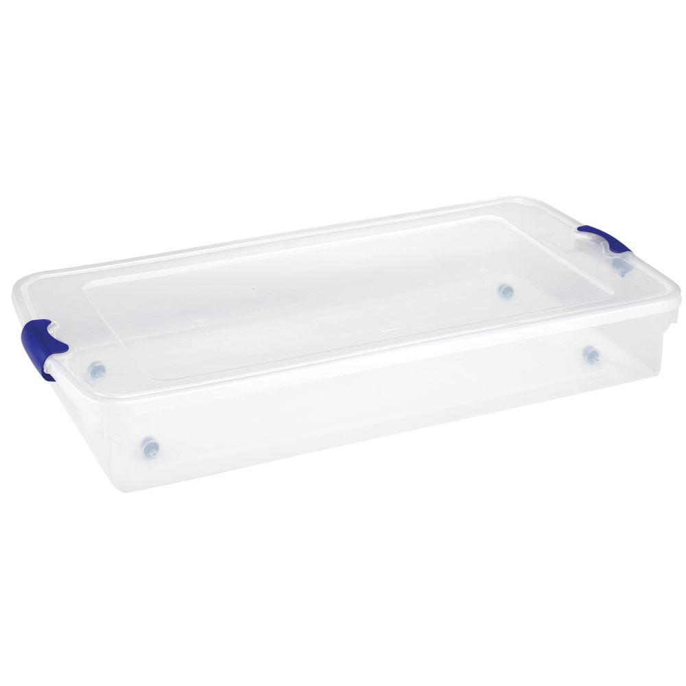Homz 60 Qt Underbed Latching Storage Tote In Clear Set