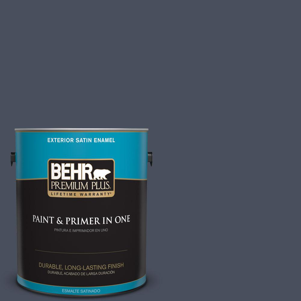 1-gal. #S510-7 Dark Denim Satin Enamel Exterior Paint