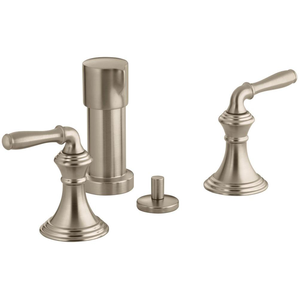 Devonshire 2-Handle Bidet Faucet in Vibrant Brushed-Bronze with Vertical Spray