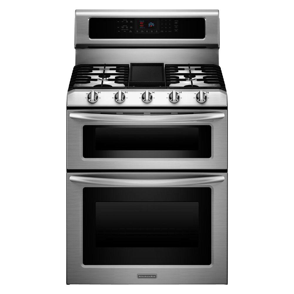 KitchenAid Architect Series II Double Oven Gas Range with Self-Cleaning Convection Oven in Stainless Steel