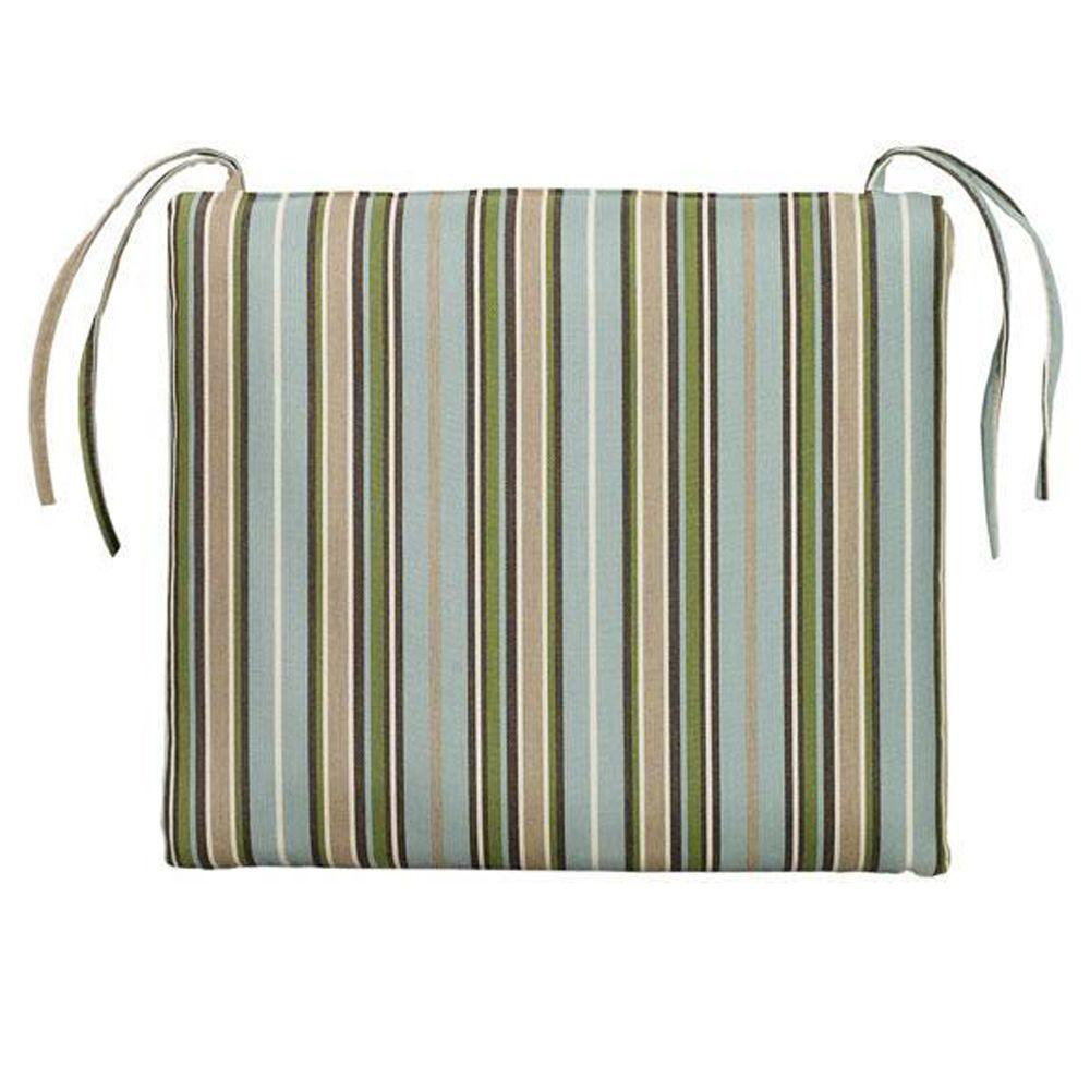 Home Decorators Collection Sunbrella Cilantro Stripe Rectangular Outdoor Seat Cushion
