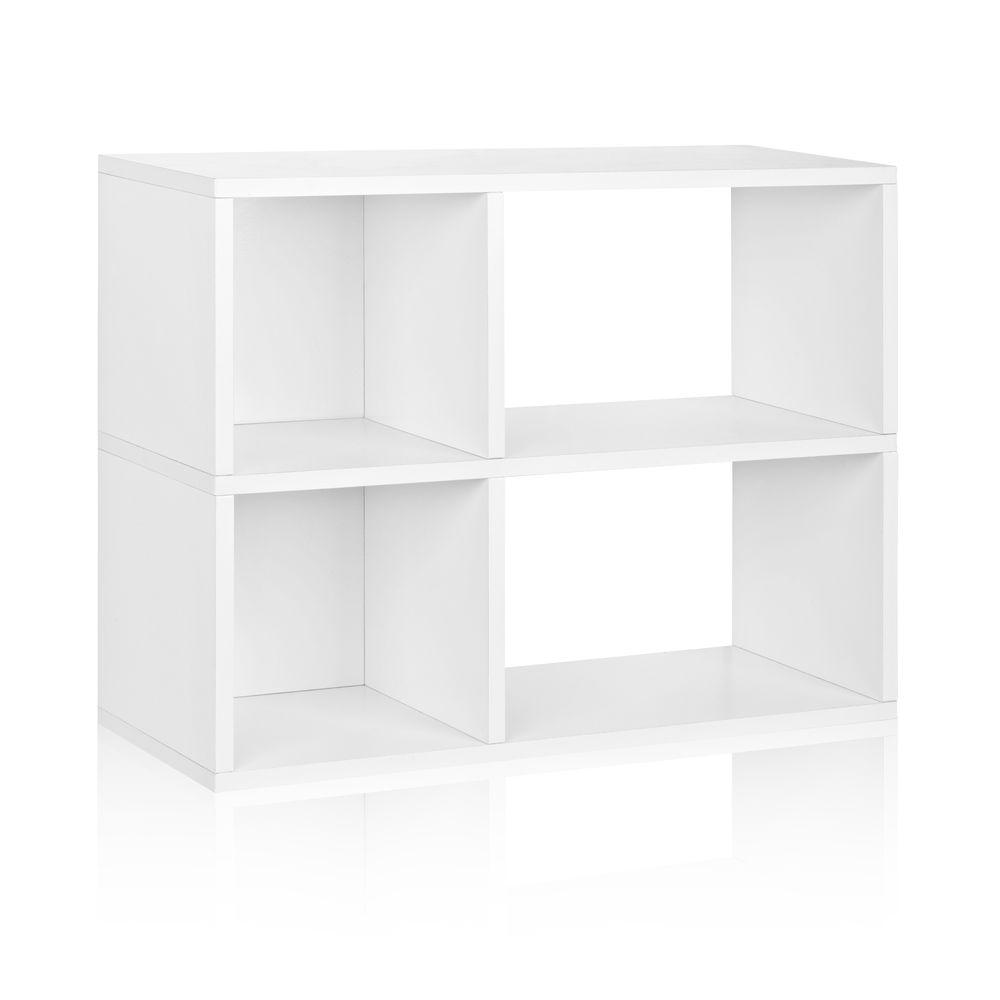 Way Basics Chelsea 2-Shelf 12 x 32.1 x 24.8 zBoard  Bookcase, Tool-Free Assembly Cubby Storage in Pearl White
