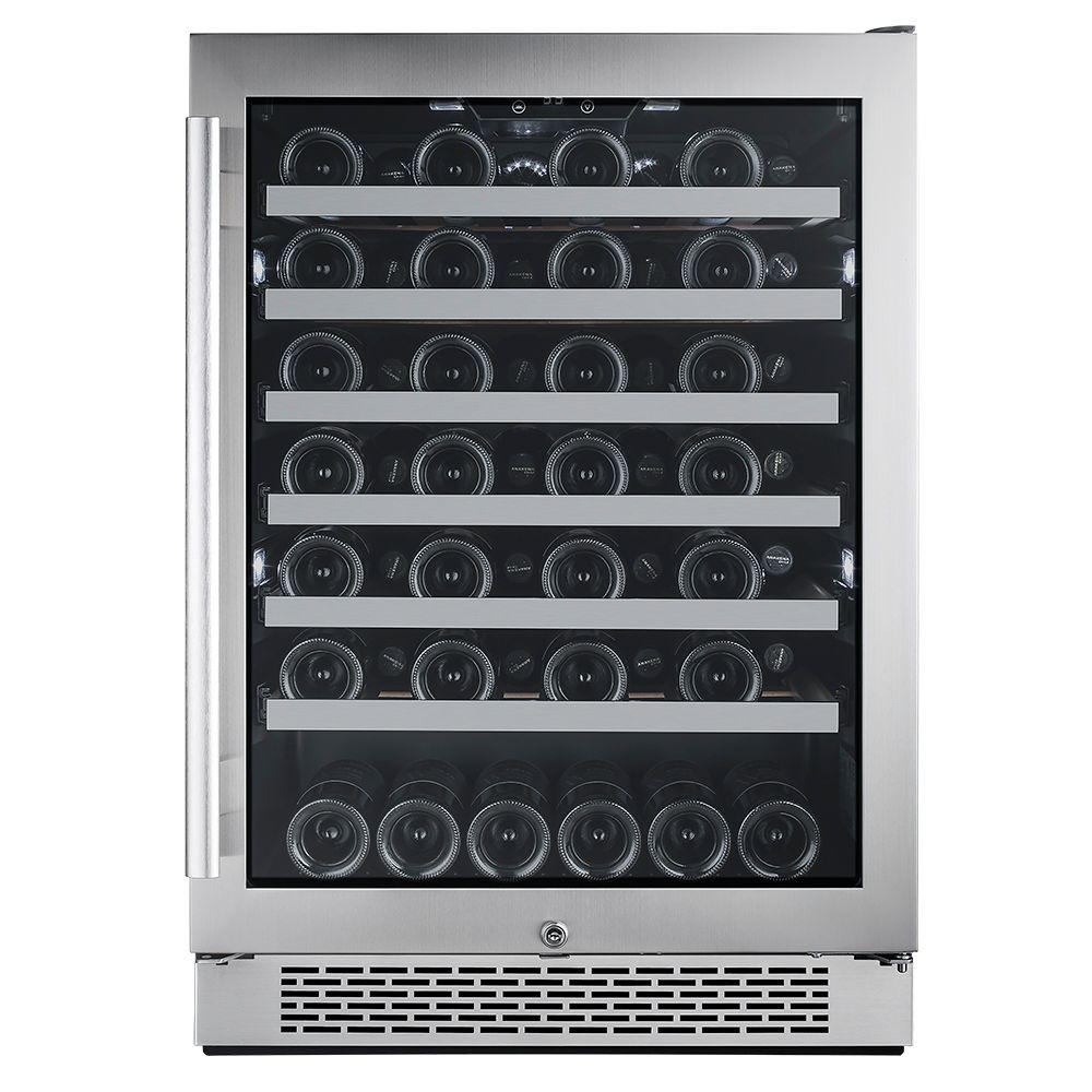 54-Bottle 24 in. Built-In Wine Cooler with Argon Filled Double Paned