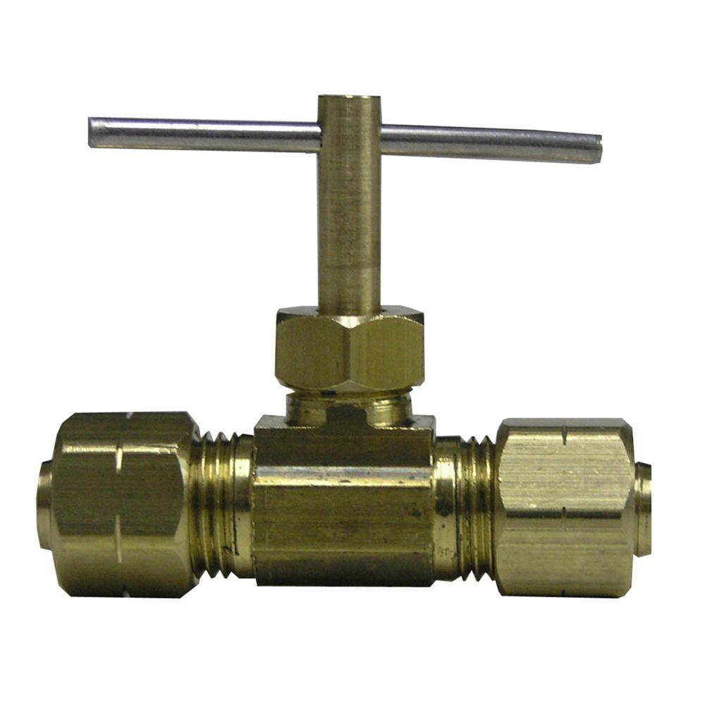 Sioux Chief 1/4 in. Brass Compression Angle Needle Valve with Chrome Plating