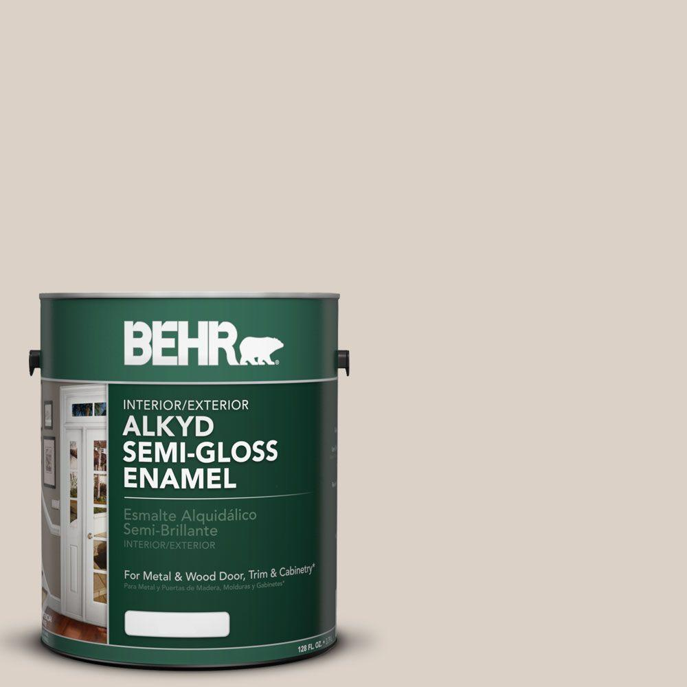 BEHR 1-gal. #AE-9 Manchester Gray Semi-Gloss Enamel Alkyd Interior/Exterior Paint