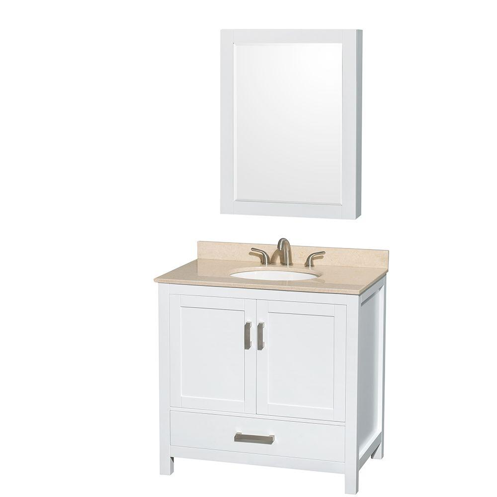 Wyndham Collection Sheffield 36 in. Vanity in White with Marble Vanity Top in Ivory and Medicine Cabinet