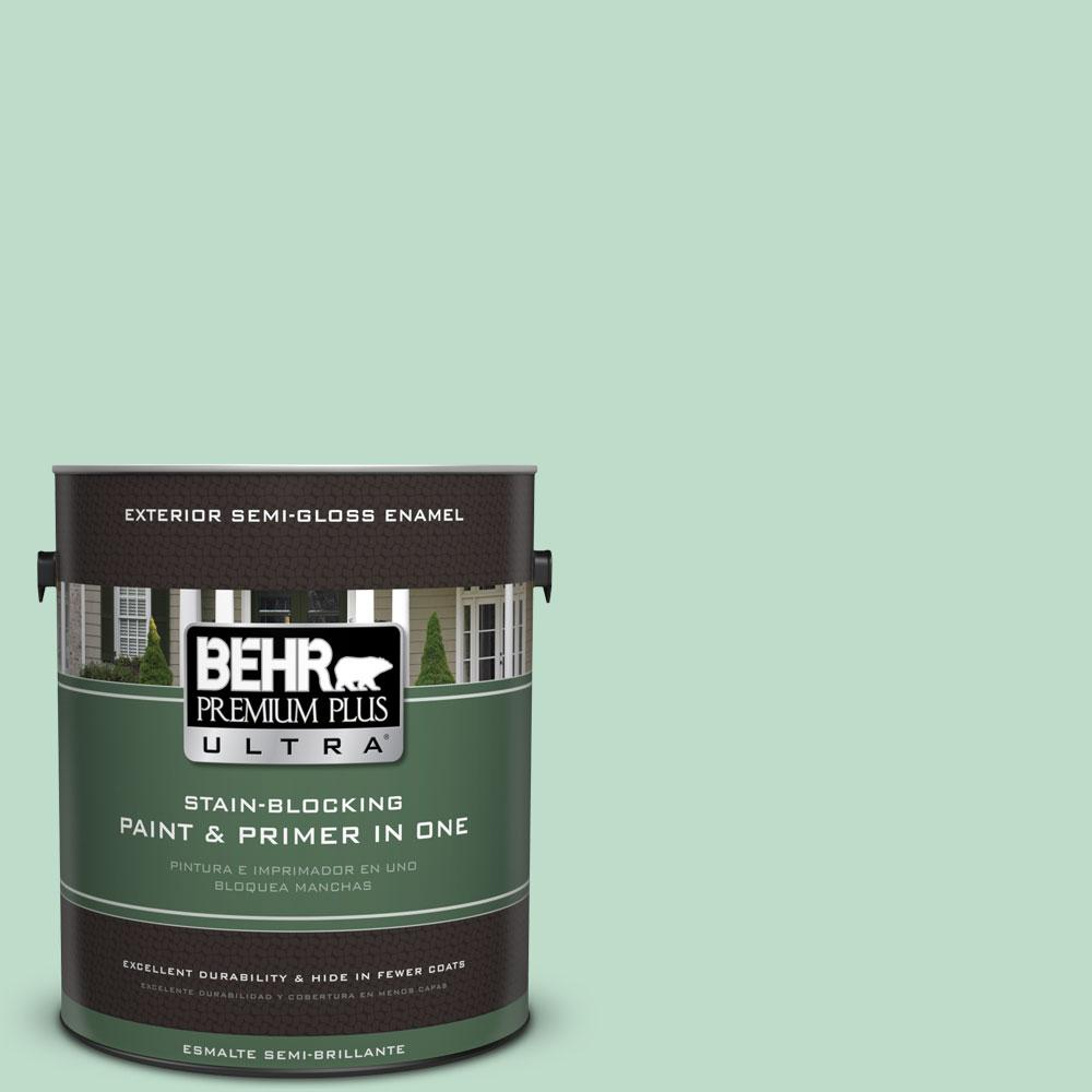 BEHR Premium Plus Ultra 1-gal. #470C-3 Spirited Green Semi-Gloss Enamel Exterior