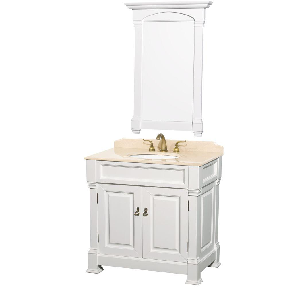 Andover 36 in. Vanity in White with Marble Vanity Top in