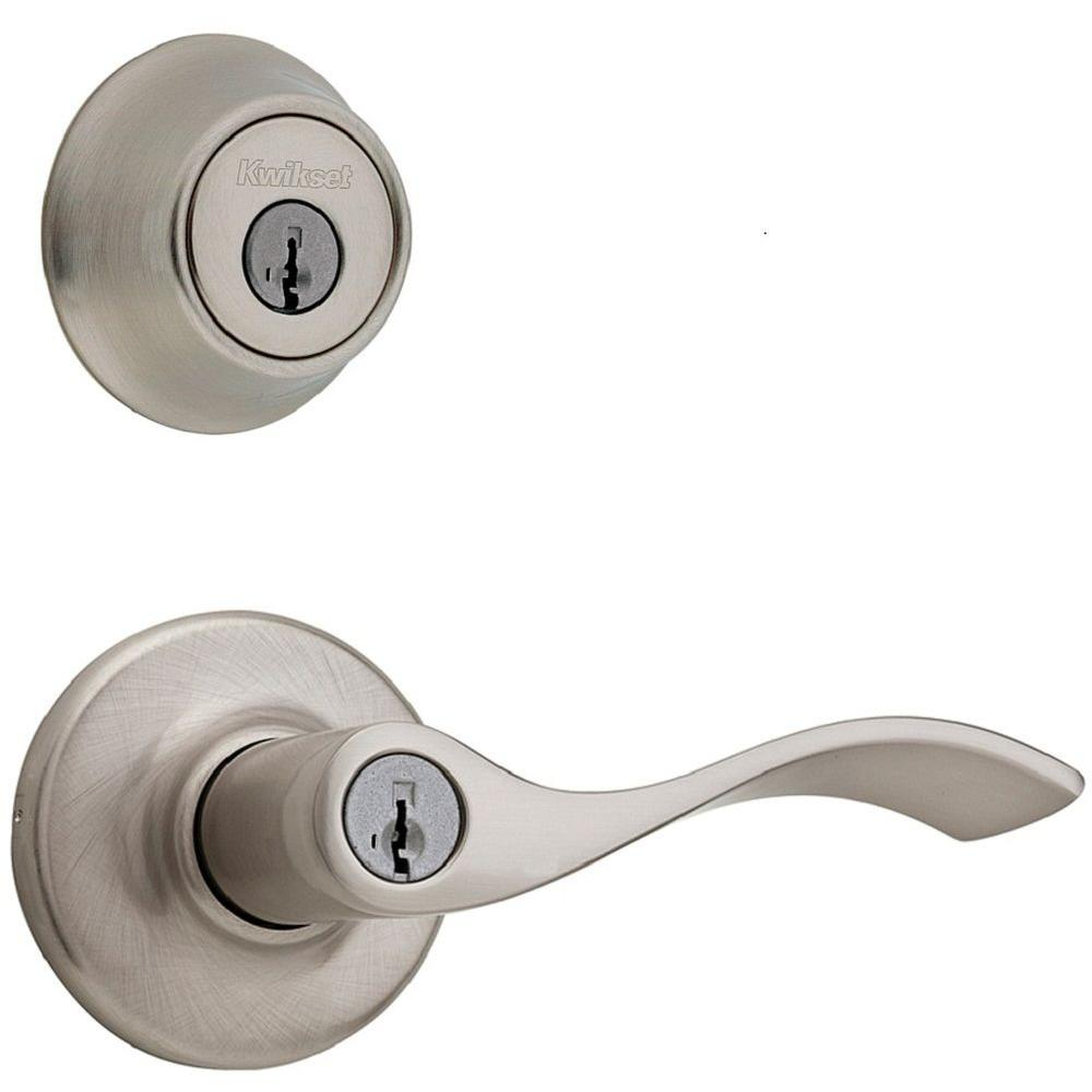 Balboa Satin Nickel Exterior Entry Lever Combo Pack Featuring SmartKey