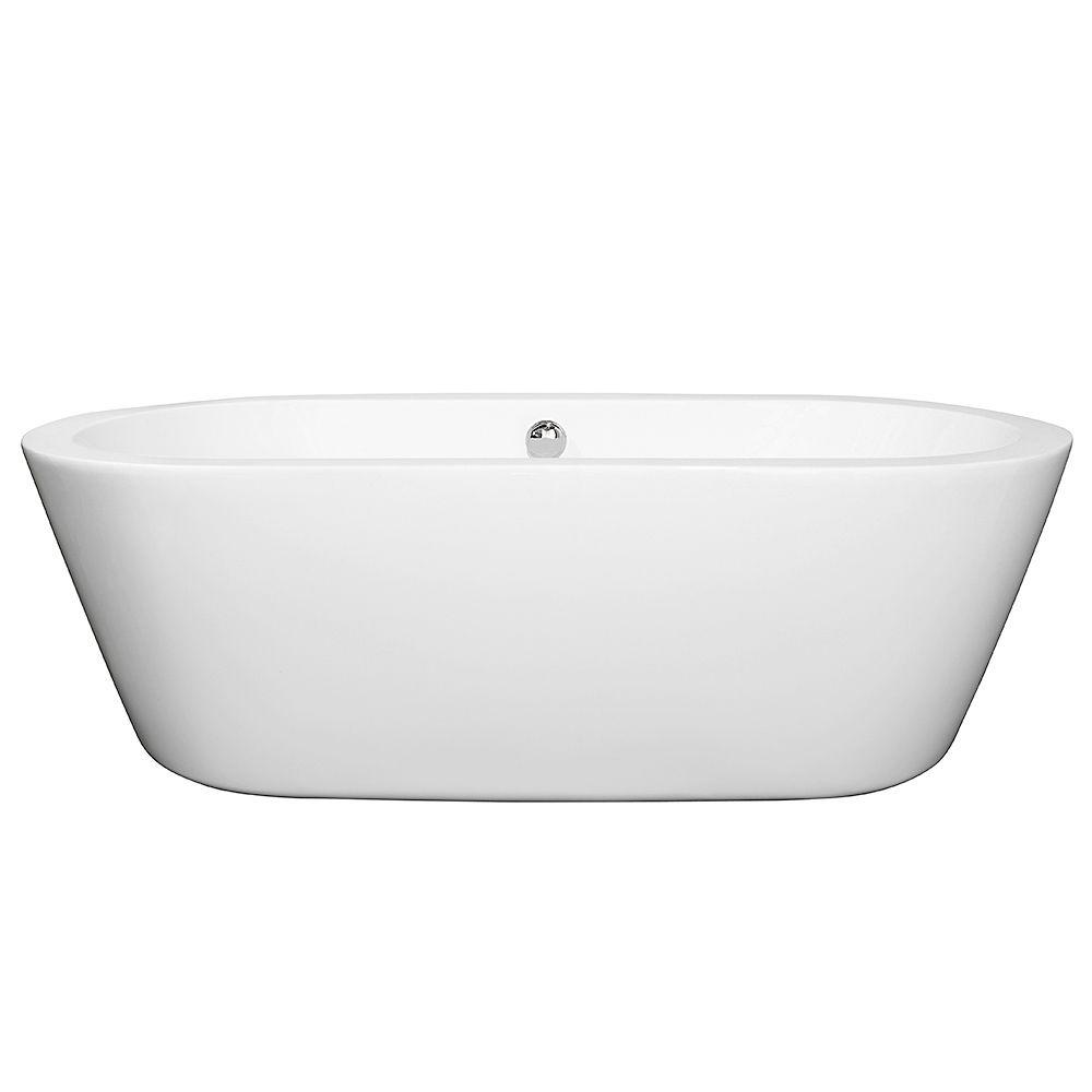 Wyndham Collection Mermaid 5.92 ft. Center Drain Soaking Tub in White