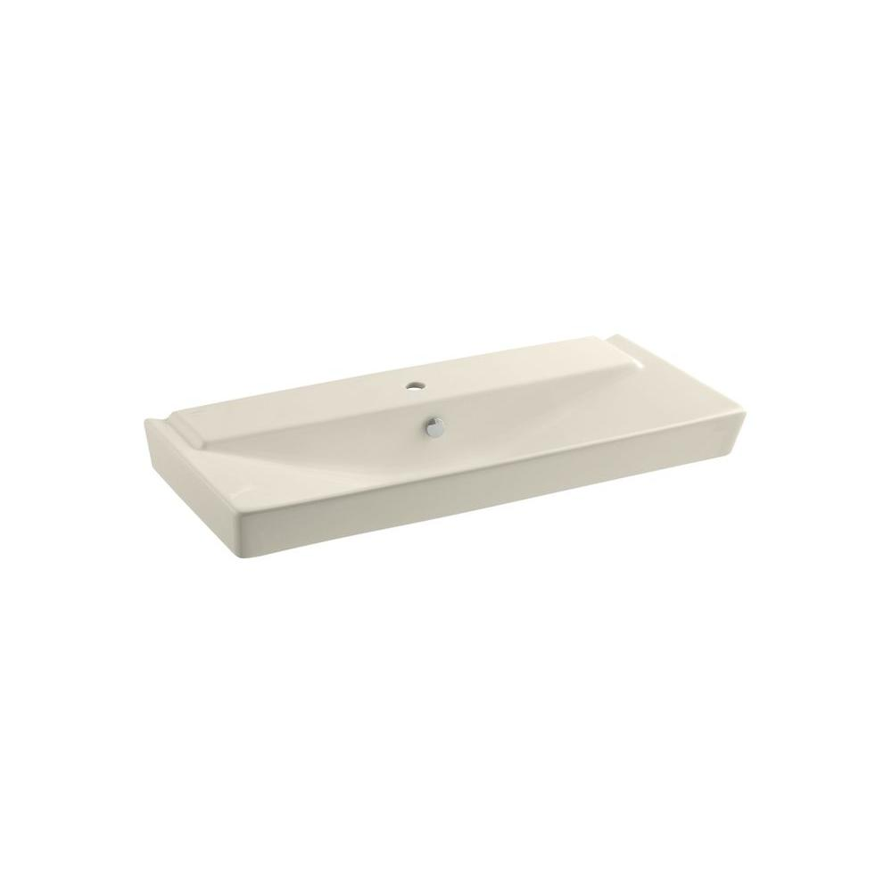 Reve 3 in. Ceramic Pedestal Sink Basin in Almond with Overflow Drain