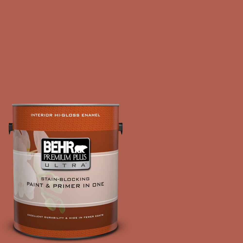 1 gal. #BIC-46 Clay Red Hi-Gloss Enamel Interior Paint