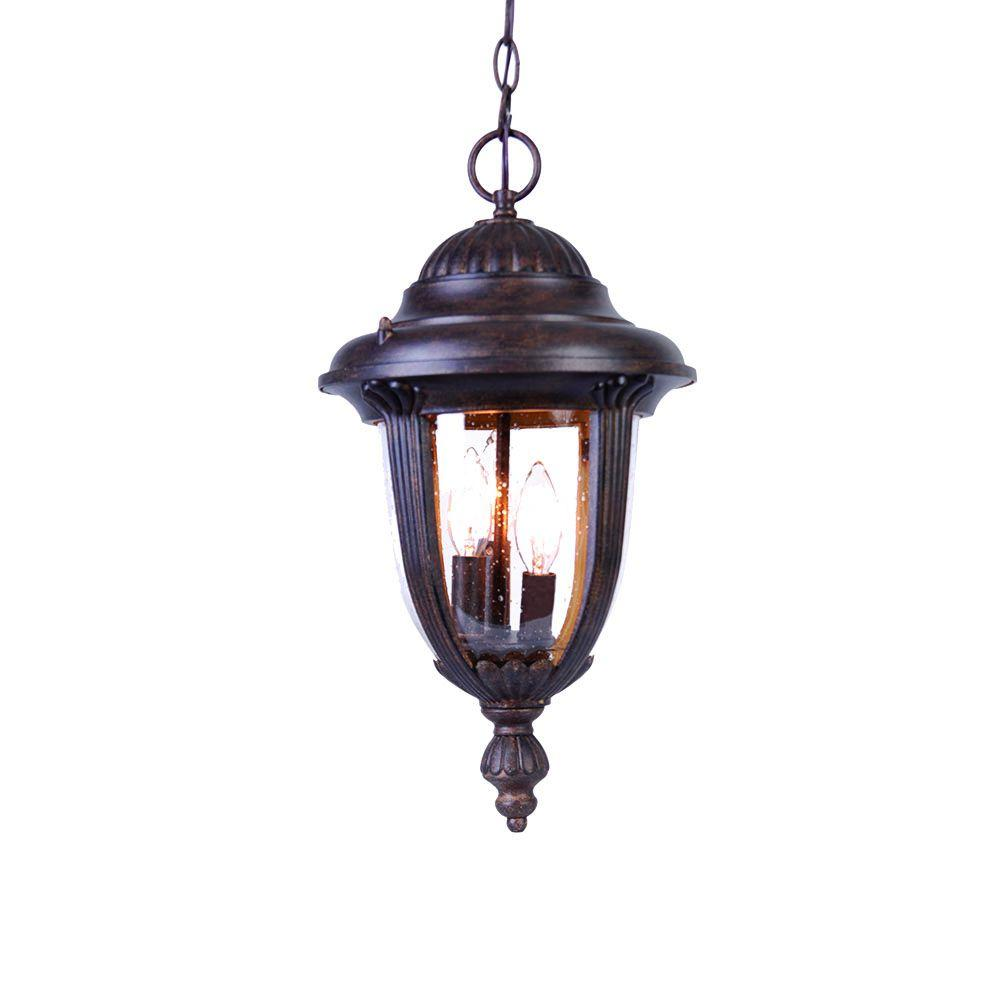 Monterey Collection 3-Light Black Coral Outdoor Hanging Lantern