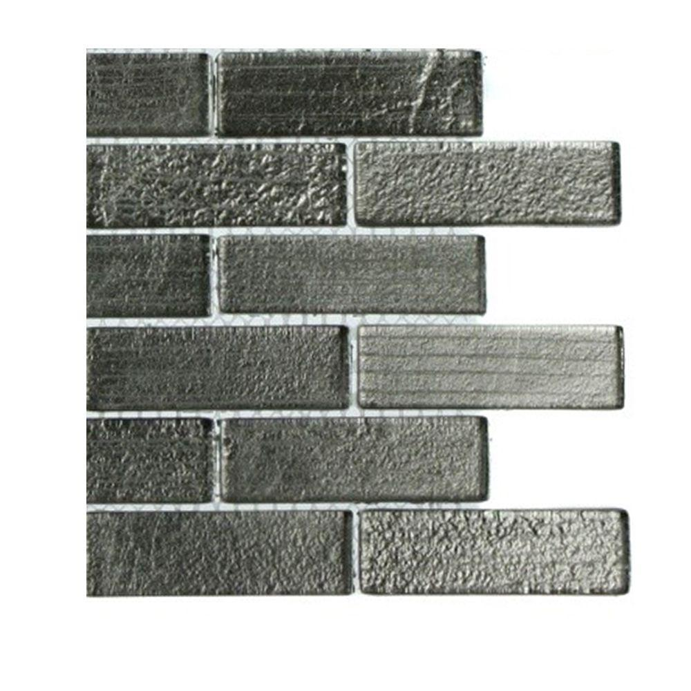 Splashback Tile Metallic Platinum 1 in. x 3 in. Glass Tiles Sample-DISCONTINUED